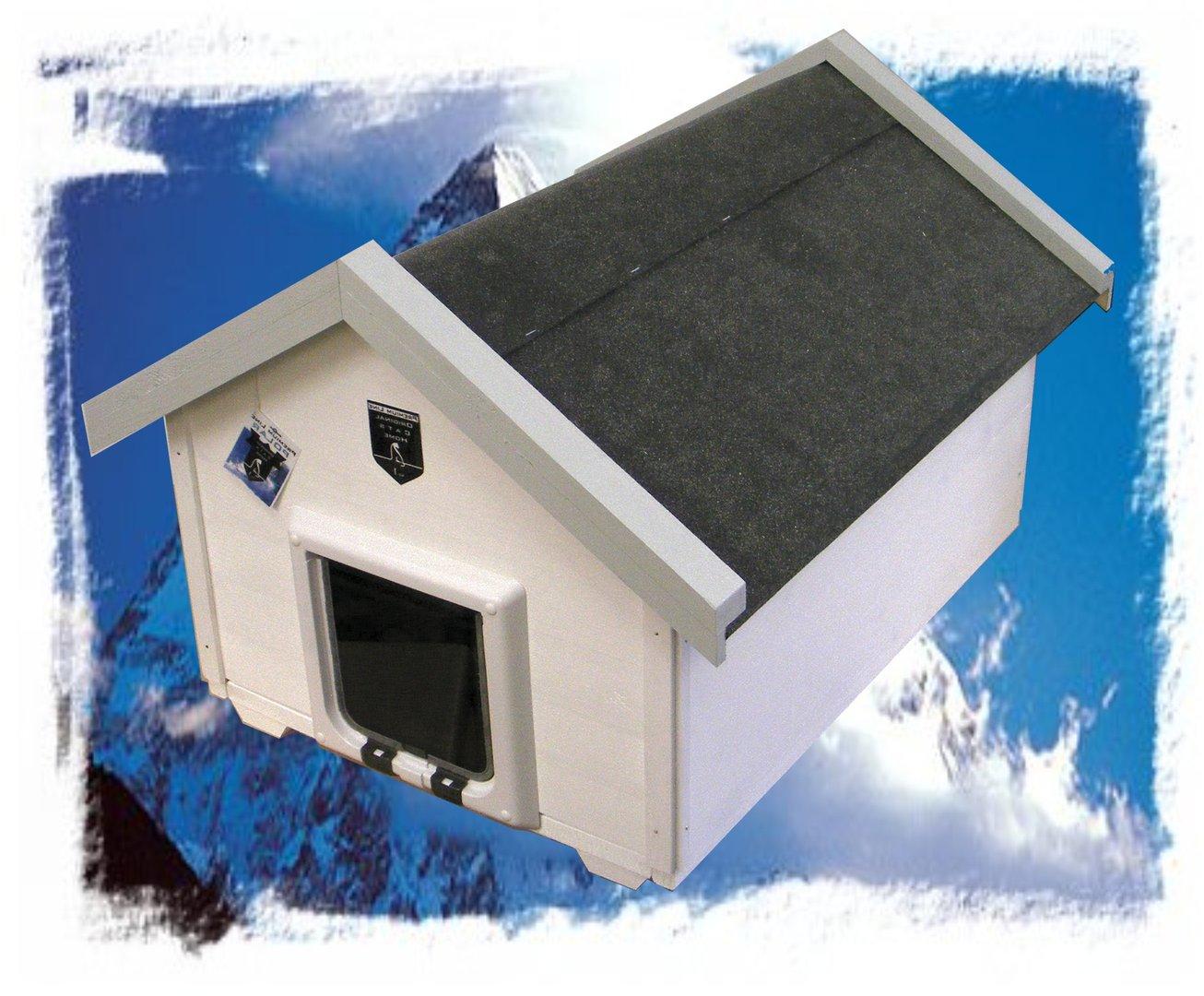 luxus katzenhaus summer wei wintertauglich mit katzenklappe. Black Bedroom Furniture Sets. Home Design Ideas