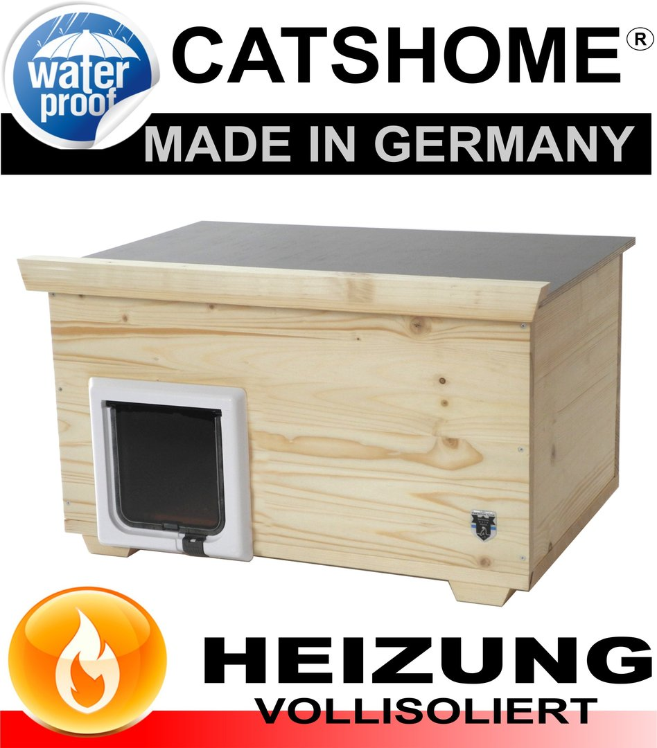 luxus katzenhaus design voll isoliert katzenklappe heizung. Black Bedroom Furniture Sets. Home Design Ideas