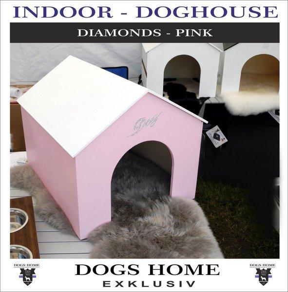 Exklusive Design Luxus Hundehutte Diamonds Pink S Indoor