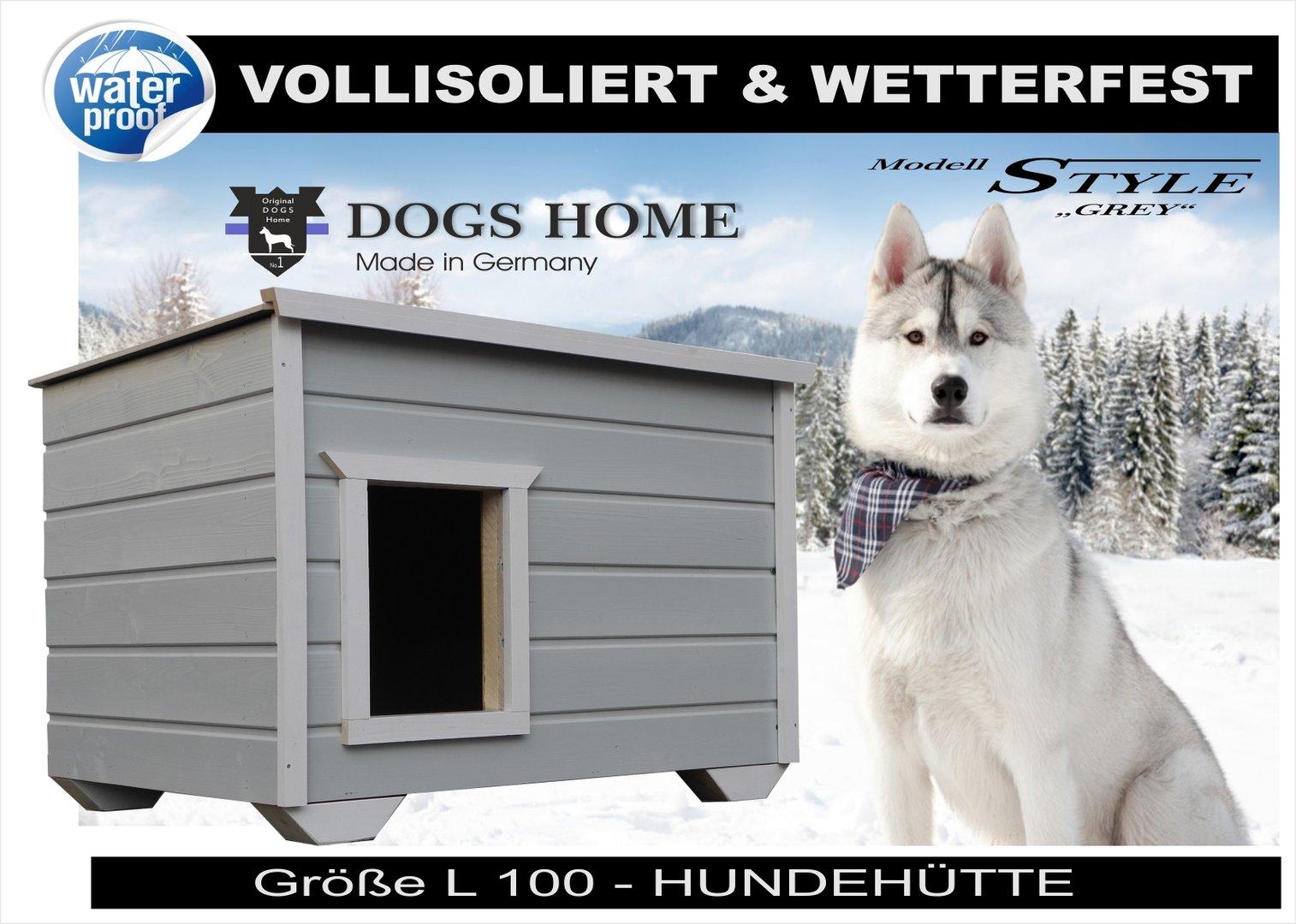 dogshome hundehütte style grey 100 l outdoor vollisoliert