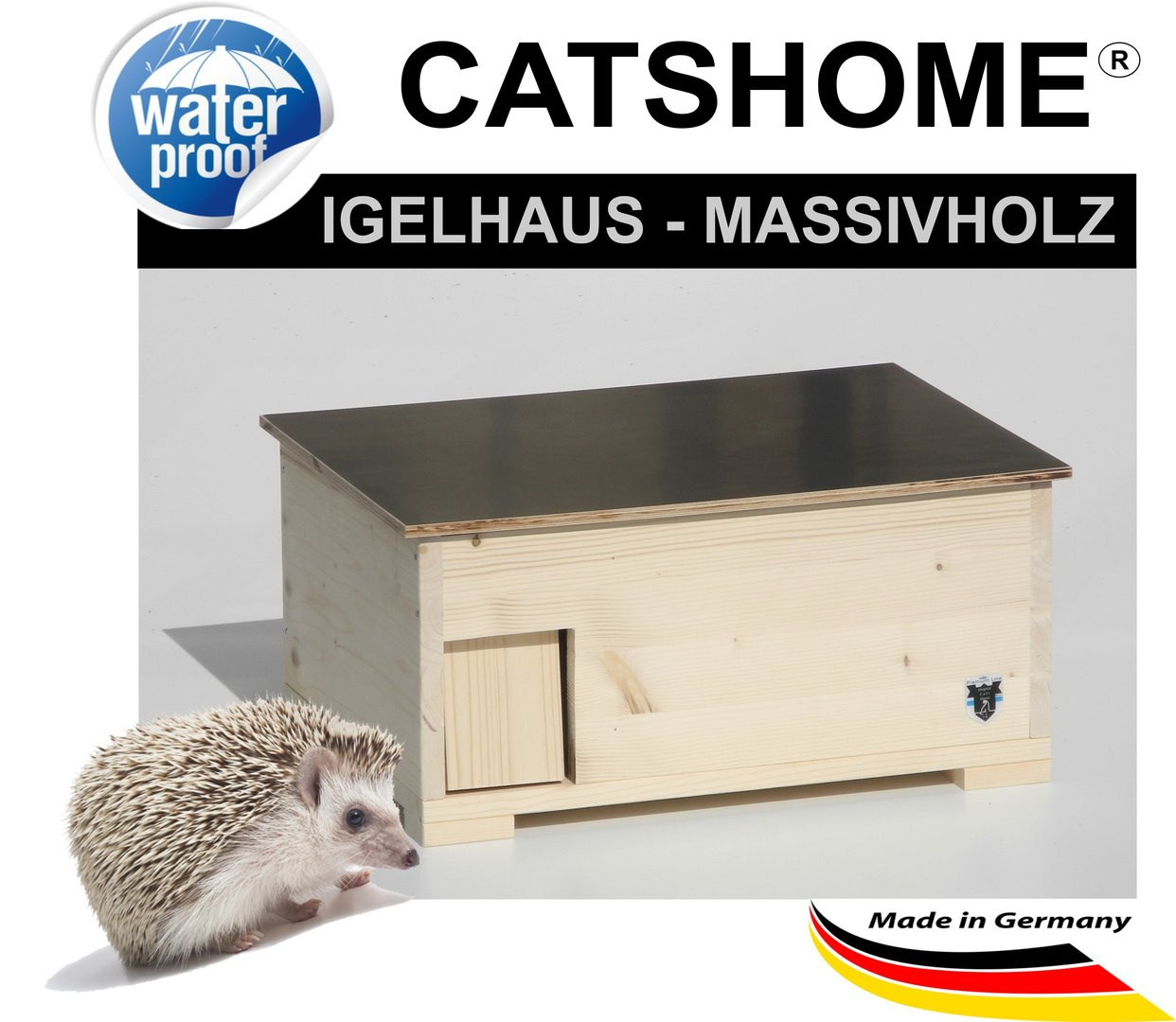 Igelhaus Igelfutterhaus XL natur von Hand gefertig - Made in Germany