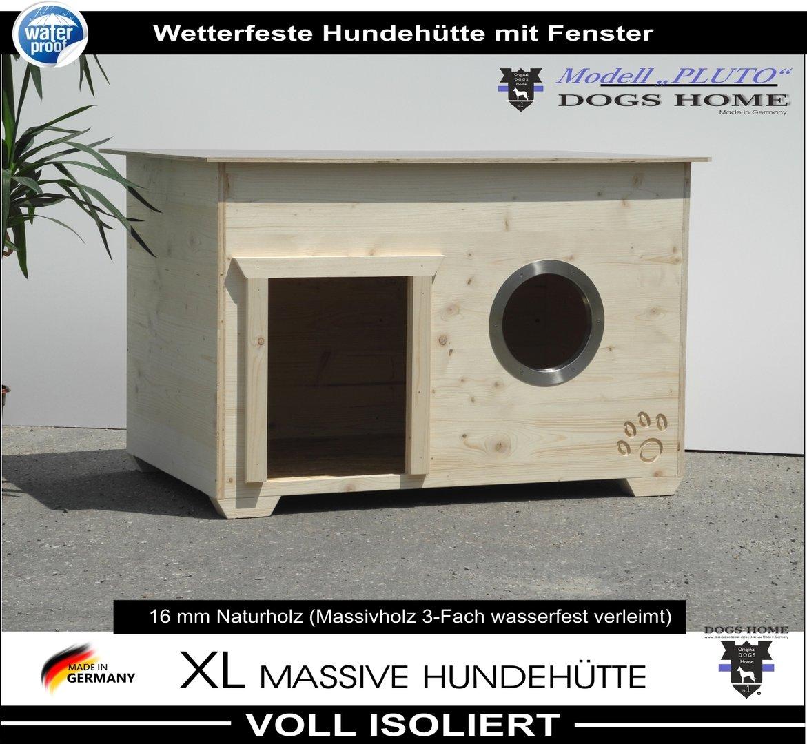 dogshome hundehütte pluto + fenster 100 l isoliert wetterfest