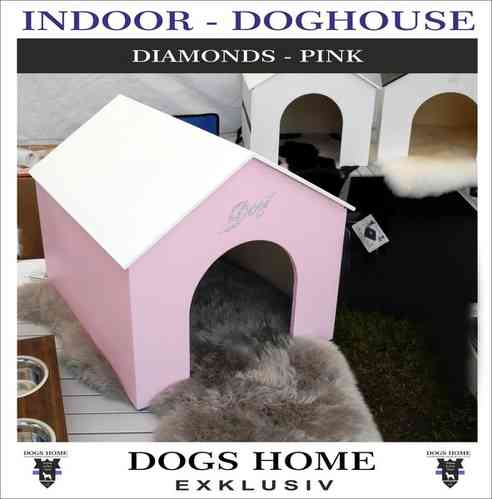 Exklusive Design Luxus Hundehütte DIAMONDS-PINK - S INDOOR