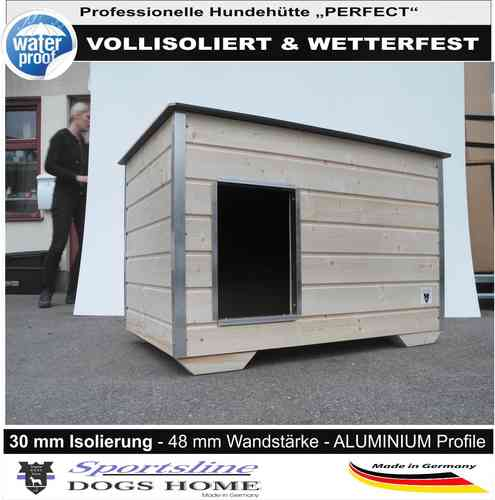 DOGSHOME Hundehütte Perfect 120 XL Outdoor vollisoliert wetterfest