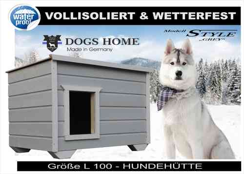 DOGSHOME Hundehütte Style Grey 100 L Outdoor vollisoliert