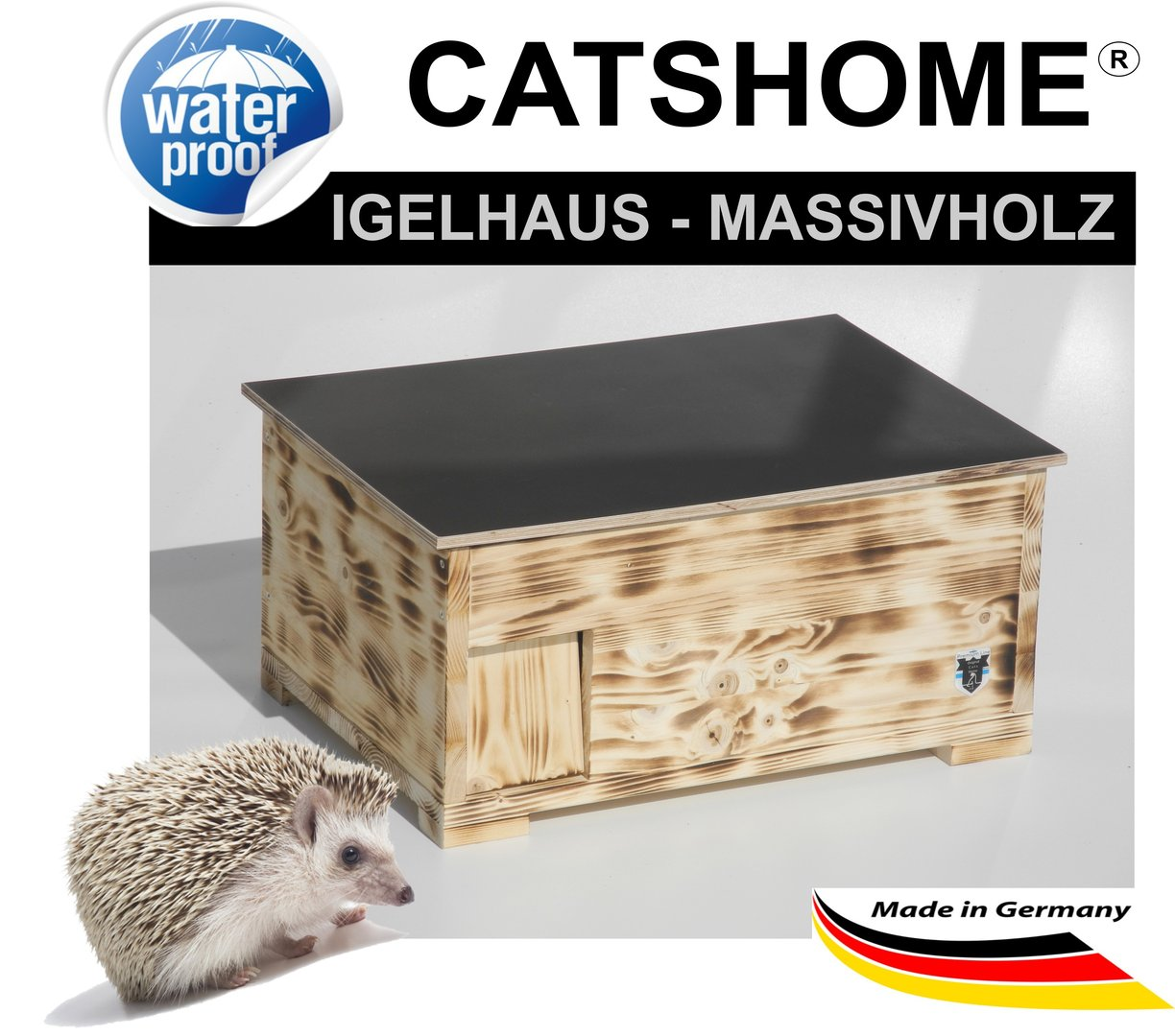 Igelhaus Igel Futterhaus XL flame von Hand gefertig - Made in Germany