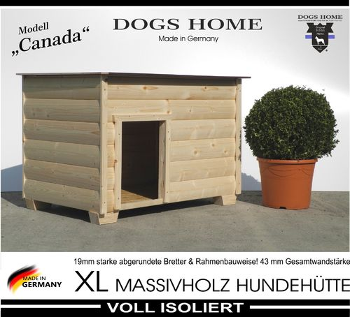 DOGSHOME Hundehütte Canada natur 100 L Outdoor wetterfest isoliert