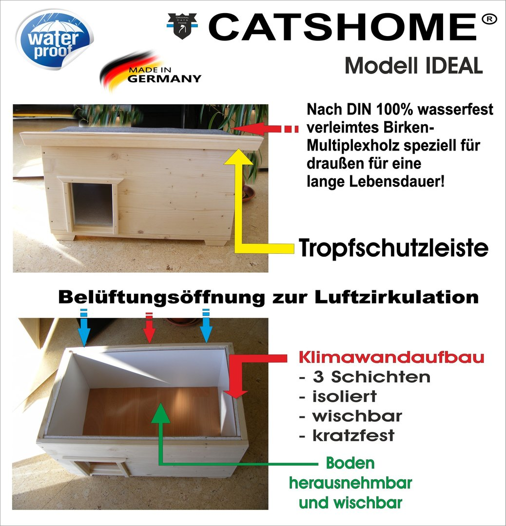 katzenhaus catshome ideal iso pine voll isoliert f r drau en. Black Bedroom Furniture Sets. Home Design Ideas